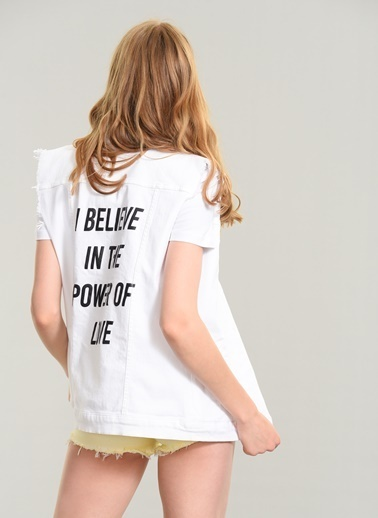 Agenda Slogan Detaylı Denim Yelek Beyaz